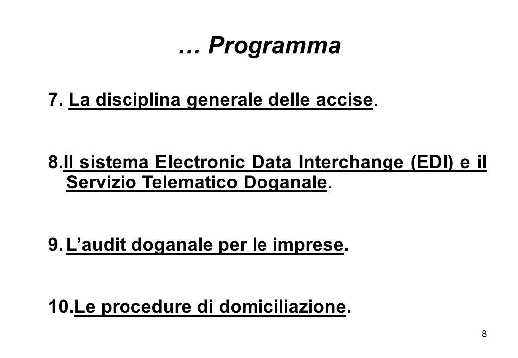 8 7. La disciplina generale delle accise. 8.Il sistema Electronic Data Interchange (EDI) e il Servizio Telematico Doganale. 9.Laudit doganale per le i