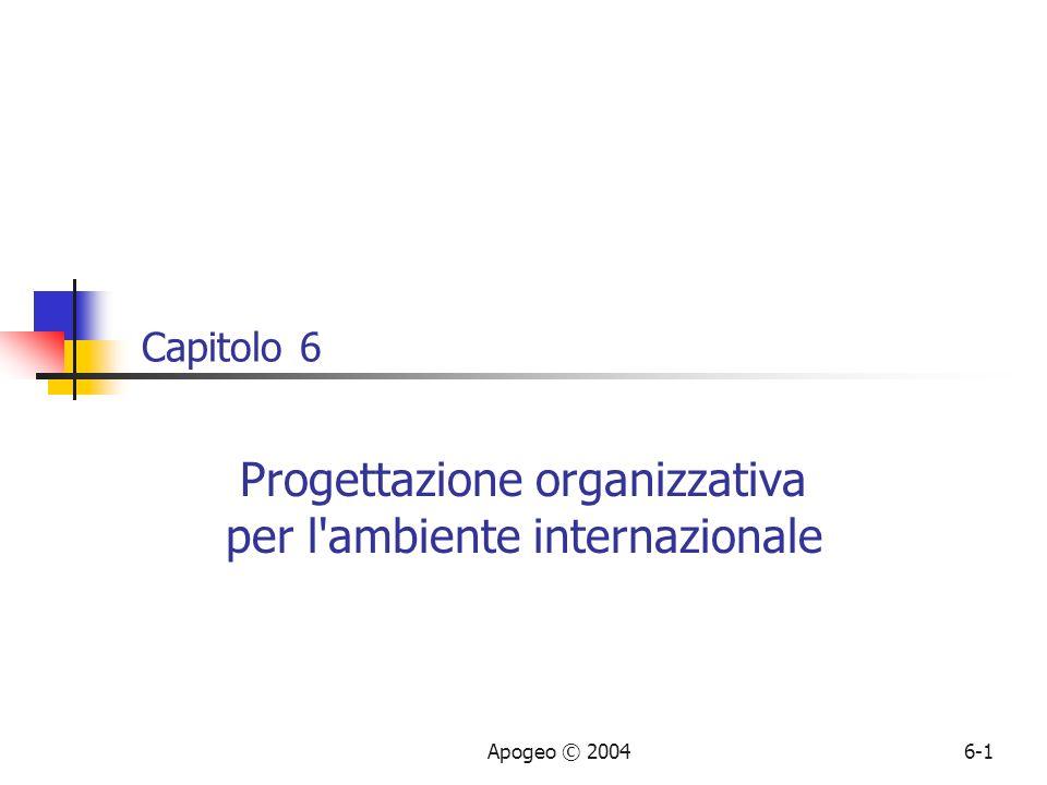 Apogeo © 20046-1 Capitolo 6 Progettazione organizzativa per l'ambiente internazionale