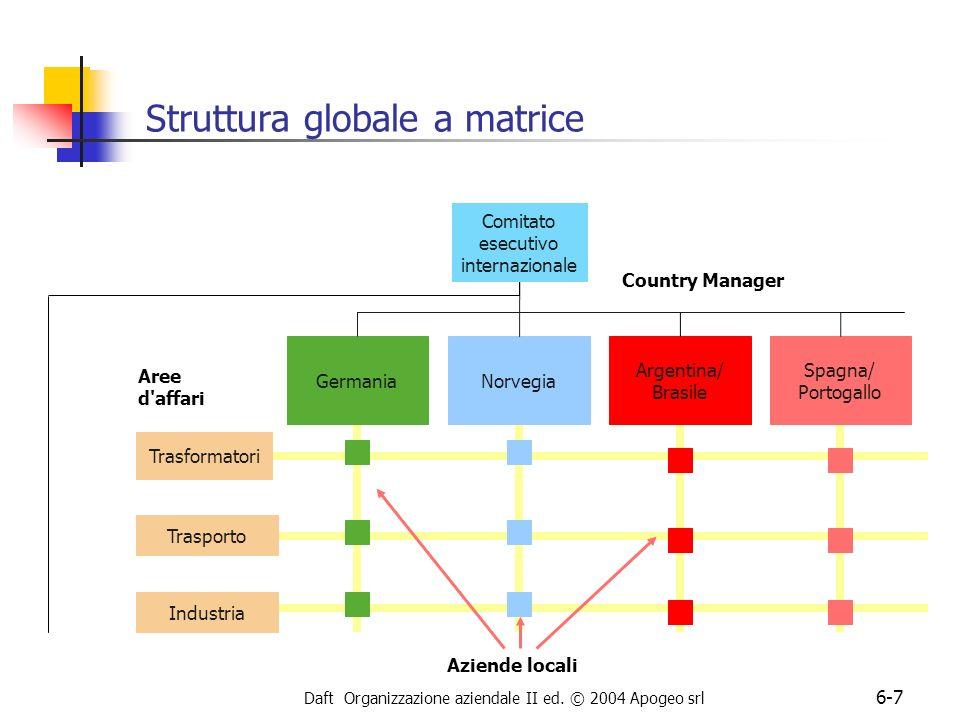 Daft Organizzazione aziendale II ed. © 2004 Apogeo srl 6-7 Struttura globale a matrice Trasformatori GermaniaNorvegia Argentina/ Brasile Spagna/ Porto