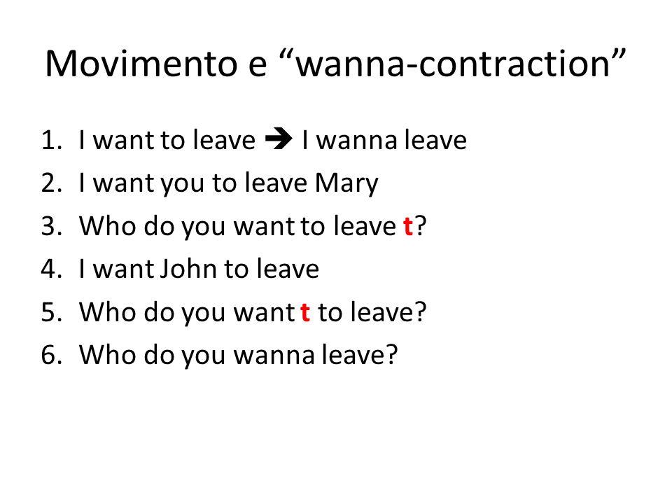 Movimento e wanna-contraction 1.I want to leave I wanna leave 2.I want you to leave Mary 3.Who do you want to leave t? 4.I want John to leave 5.Who do