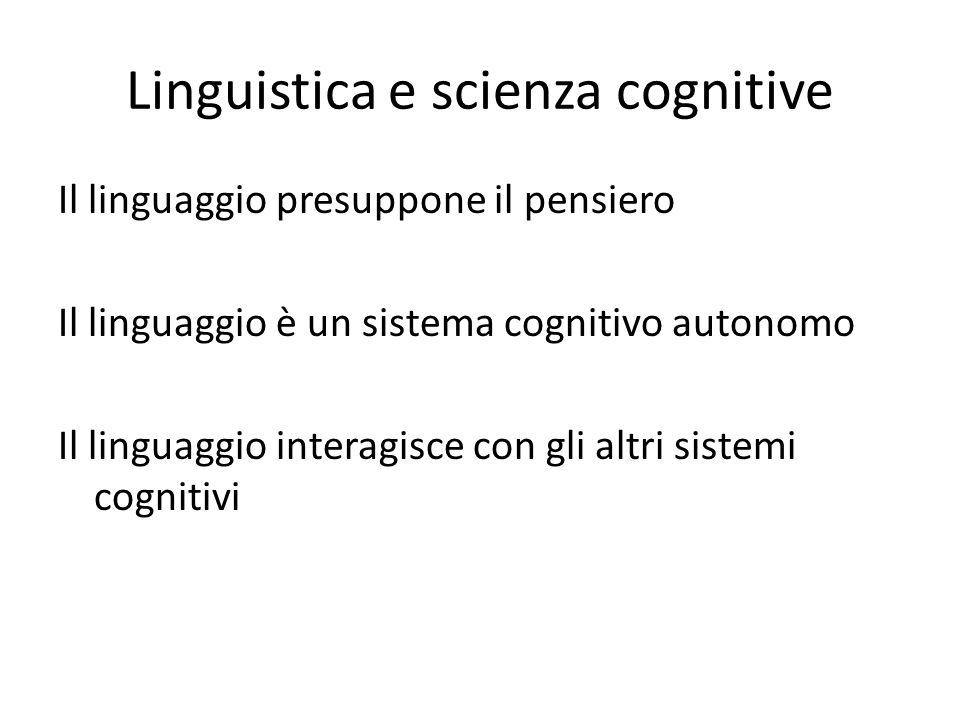 Linguistica e scienza cognitive Il linguaggio presuppone il pensiero Il linguaggio è un sistema cognitivo autonomo Il linguaggio interagisce con gli a