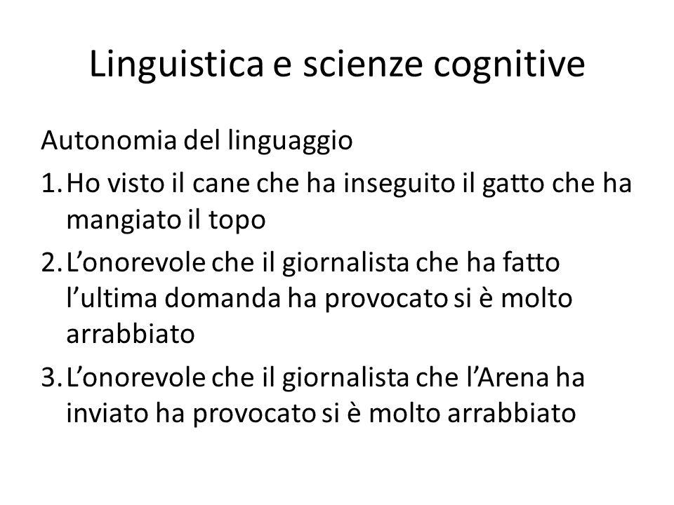 Linguistica e scienze cognitive Autonomia del linguaggio 1.Ho visto il cane che ha inseguito il gatto che ha mangiato il topo 2.Lonorevole che il gior
