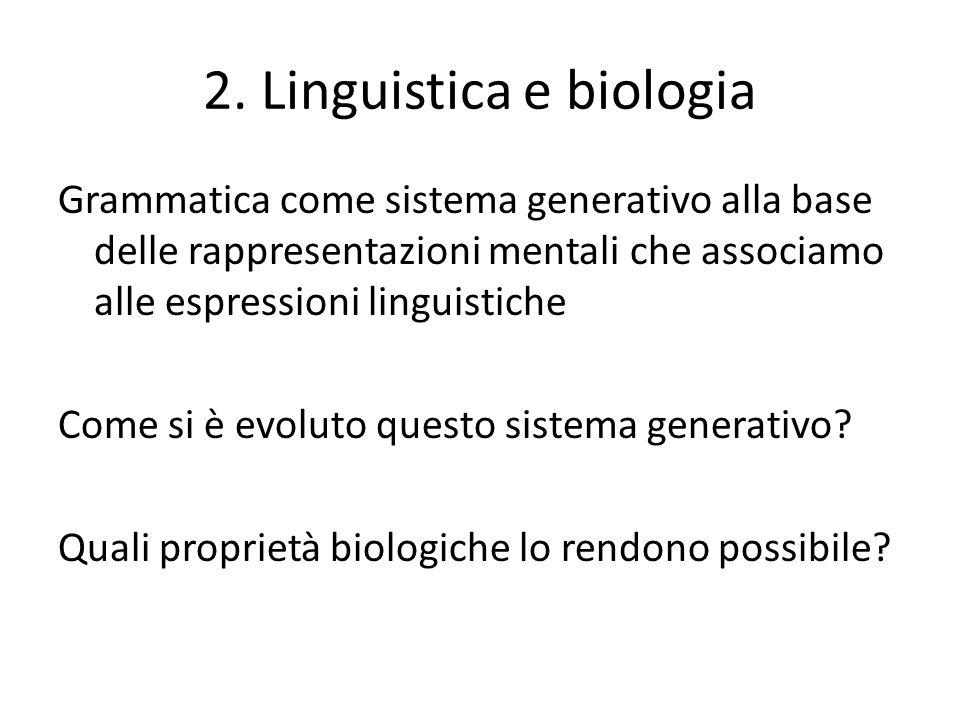 Linguistica e biologia Mente e cervello Le regole linguistiche sono codificate in parti del cervello diverse da quelle in cui sono codificate le regole non- linguistiche Concetto di regole linguistiche impossibili Tecniche di neuroimmagine per la localizzazione delle funzioni linguistiche Andrea Moro, I confini di Babele, Longanesi