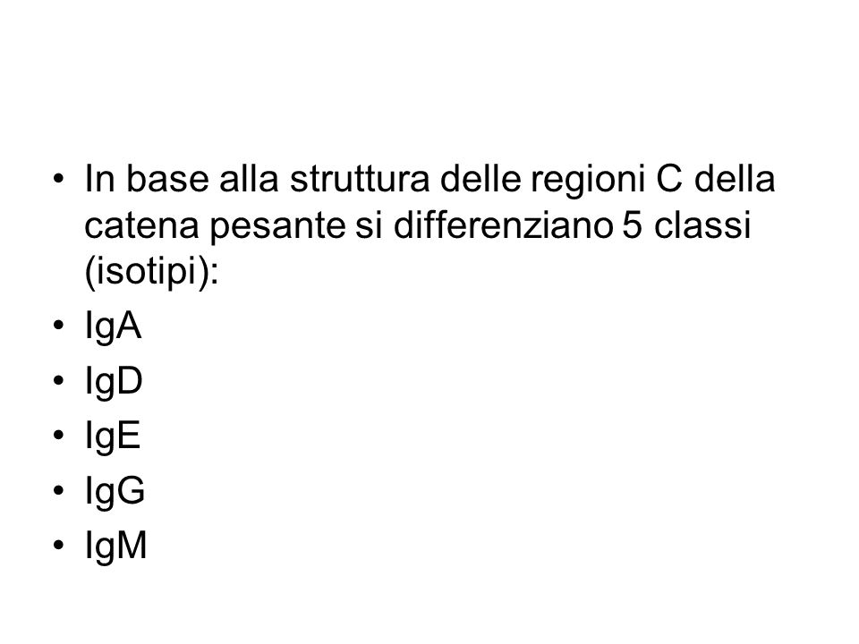 In base alla struttura delle regioni C della catena pesante si differenziano 5 classi (isotipi): IgA IgD IgE IgG IgM