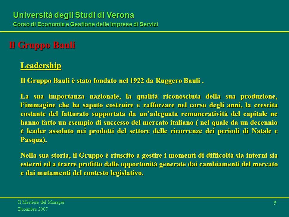 Il Mestiere del Manager Dicembre 2007 Università degli Studi di Verona Corso di Economia e Gestione delle Imprese di Servizi 5 Leadership Il Gruppo Bauli è stato fondato nel 1922 da Ruggero Bauli.