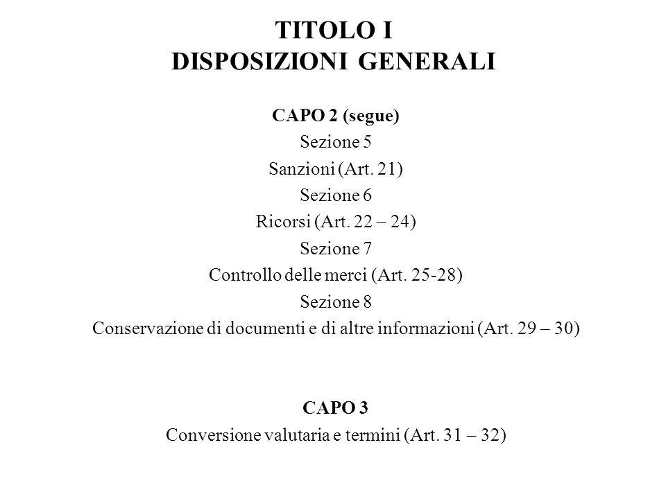 TITOLO I DISPOSIZIONI GENERALI CAPO 2 (segue) Sezione 5 Sanzioni (Art.