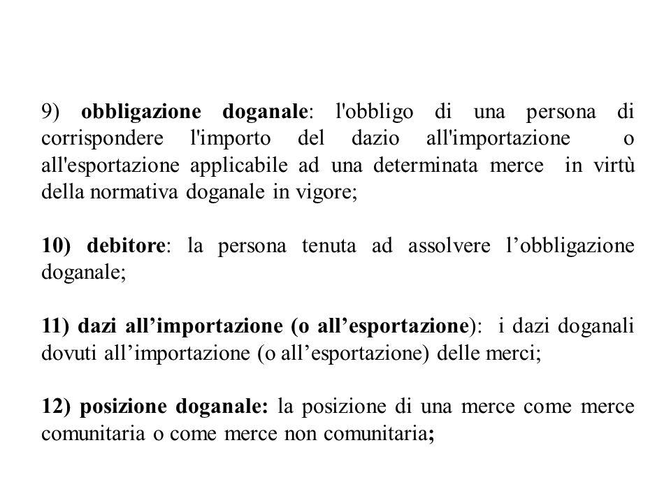 9) obbligazione doganale: l obbligo di una persona di corrispondere l importo del dazio all importazione o all esportazione applicabile ad una determinata merce in virtù della normativa doganale in vigore; 10) debitore: la persona tenuta ad assolvere lobbligazione doganale; 11) dazi allimportazione (o allesportazione): i dazi doganali dovuti allimportazione (o allesportazione) delle merci; 12) posizione doganale: la posizione di una merce come merce comunitaria o come merce non comunitaria;