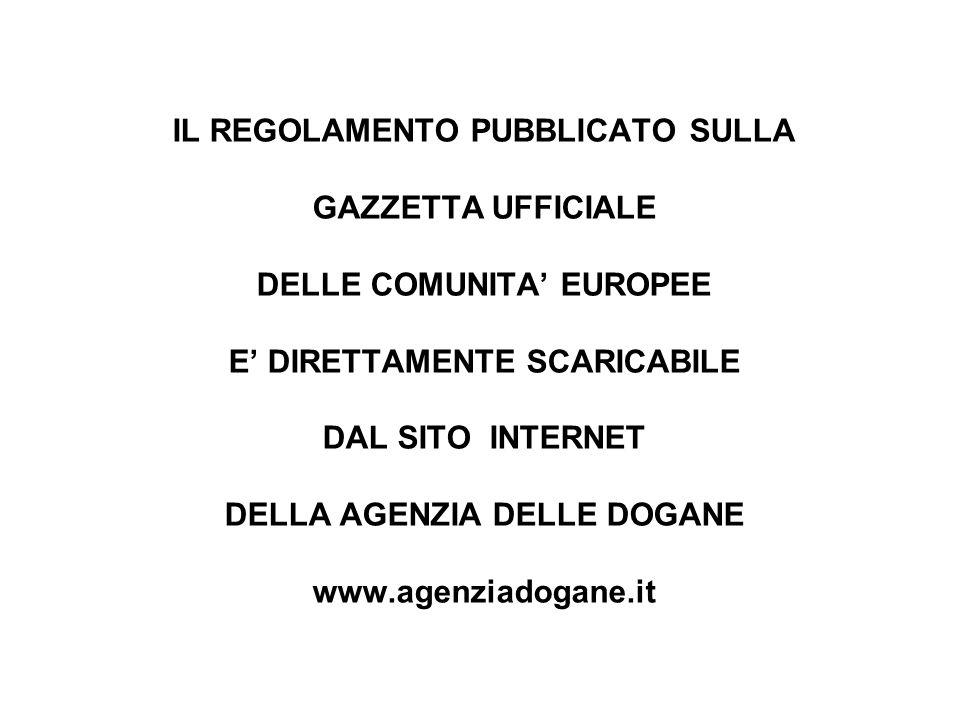 OBIETTIVI DEL REG.N. 450/2008 La Comunità si fonda sullUnione Doganale.