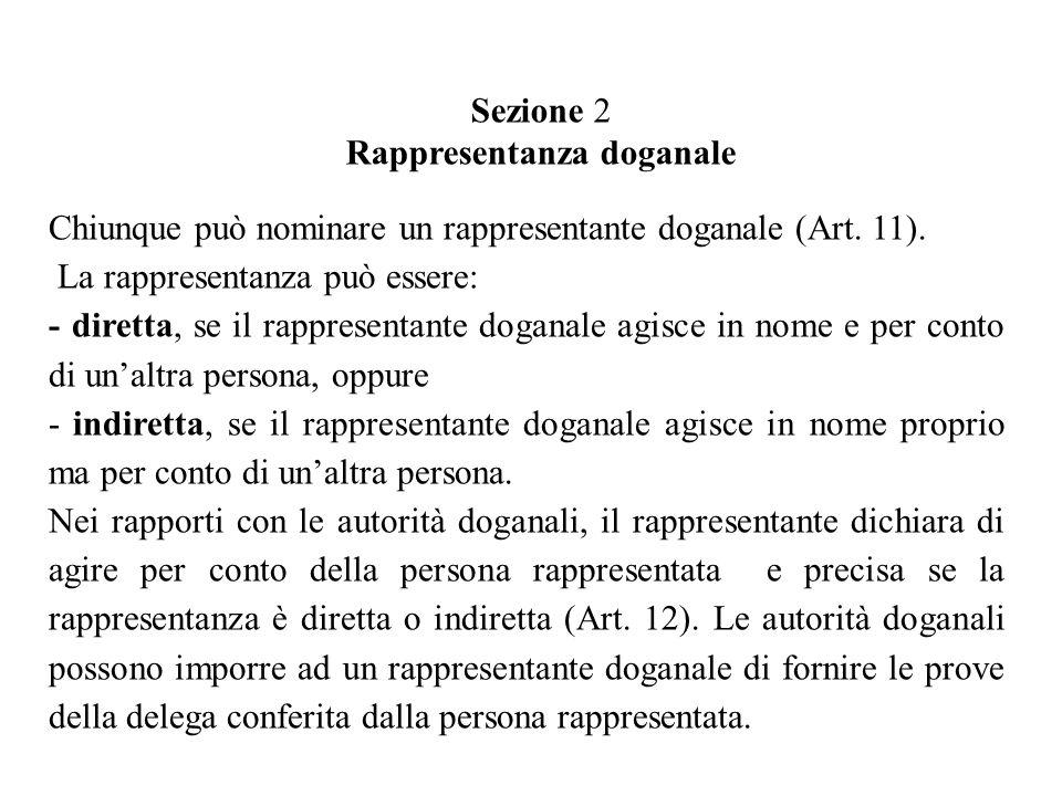 Chiunque può nominare un rappresentante doganale (Art.