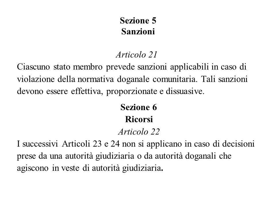 Sezione 5 Sanzioni Articolo 21 Ciascuno stato membro prevede sanzioni applicabili in caso di violazione della normativa doganale comunitaria.