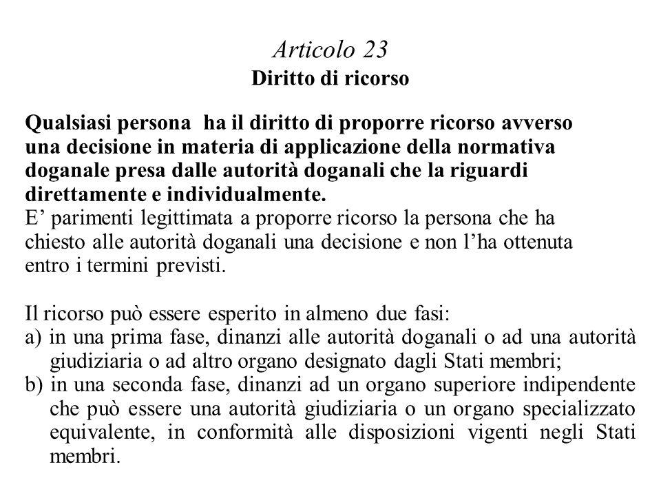Articolo 23 Diritto di ricorso Qualsiasi persona ha il diritto di proporre ricorso avverso una decisione in materia di applicazione della normativa doganale presa dalle autorità doganali che la riguardi direttamente e individualmente.