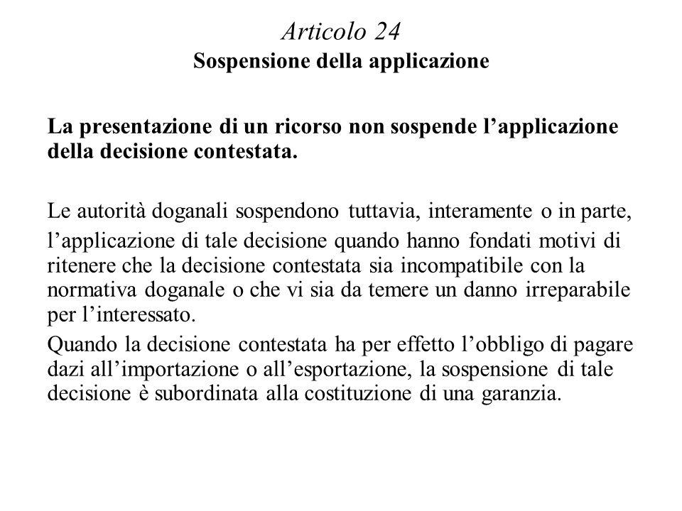 Articolo 24 Sospensione della applicazione La presentazione di un ricorso non sospende lapplicazione della decisione contestata.
