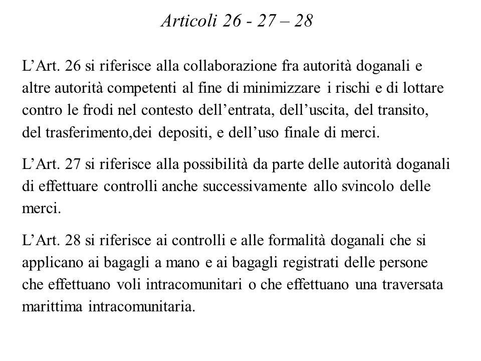 Articoli 26 - 27 – 28 LArt.