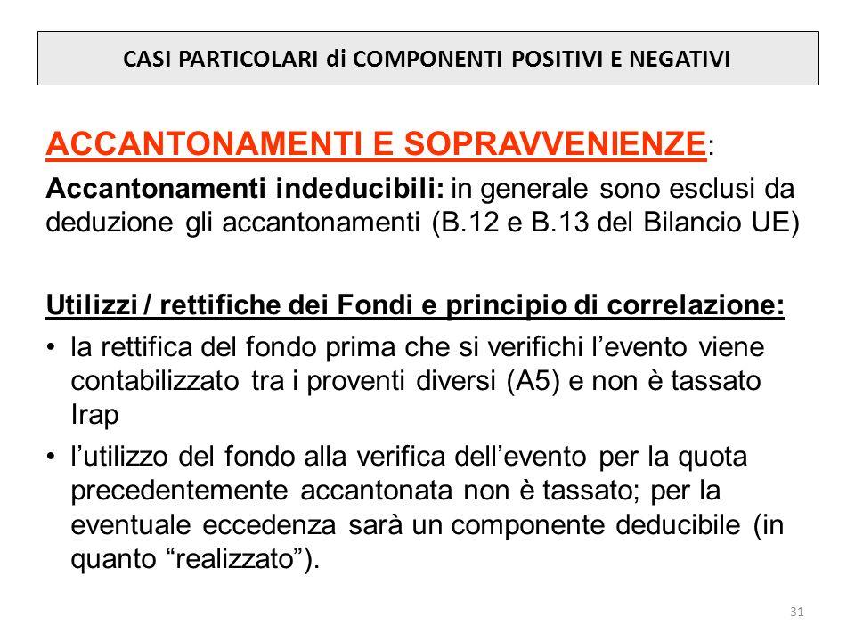 31 CASI PARTICOLARI di COMPONENTI POSITIVI E NEGATIVI ACCANTONAMENTI E SOPRAVVENIENZE : Accantonamenti indeducibili: in generale sono esclusi da deduzione gli accantonamenti (B.12 e B.13 del Bilancio UE) Utilizzi / rettifiche dei Fondi e principio di correlazione: la rettifica del fondo prima che si verifichi levento viene contabilizzato tra i proventi diversi (A5) e non è tassato Irap lutilizzo del fondo alla verifica dellevento per la quota precedentemente accantonata non è tassato; per la eventuale eccedenza sarà un componente deducibile (in quanto realizzato).