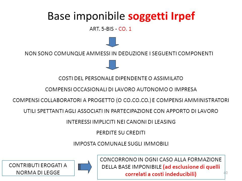 40 Base imponibile soggetti Irpef ART.5-BIS - CO.