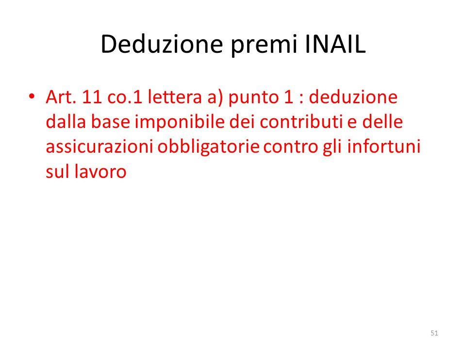 Deduzione premi INAIL Art.