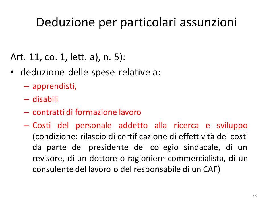 Deduzione per particolari assunzioni Art.11, co. 1, lett.