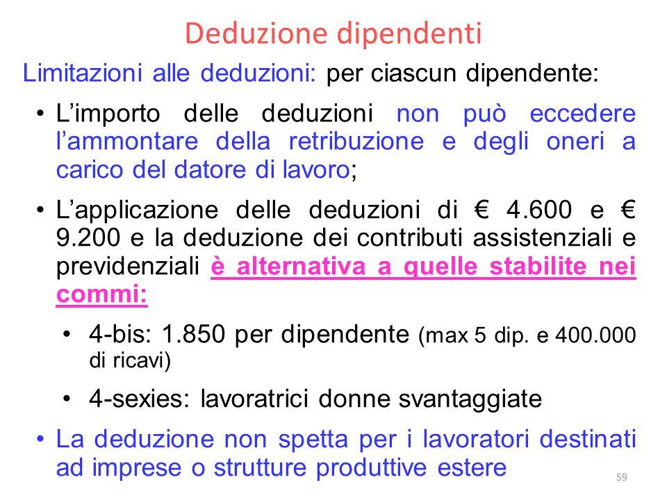Deduzione dipendenti Limitazioni alle deduzioni: per ciascun dipendente: Limporto delle deduzioni non può eccedere lammontare della retribuzione e degli oneri a carico del datore di lavoro; Lapplicazione delle deduzioni di 4.600 e 9.200 e la deduzione dei contributi assistenziali e previdenziali è alternativa a quelle stabilite nei commi: 4-bis: 1.850 per dipendente (max 5 dip.