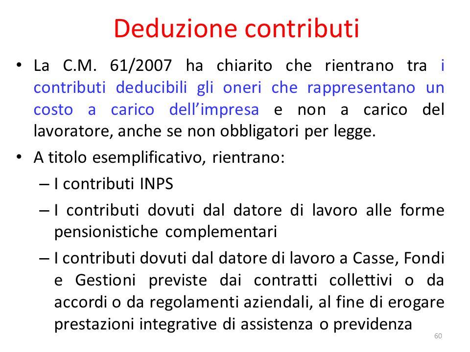 Deduzione contributi La C.M.