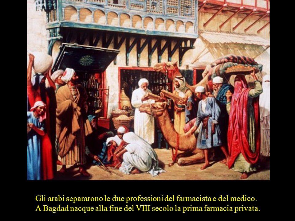 Il padre della medicina araba, Abu Bakr Mohammed ibn Zakariya al Rhazi (865-925) noto come Rhazes, introduce in terapia molti composti chimici (ad es.