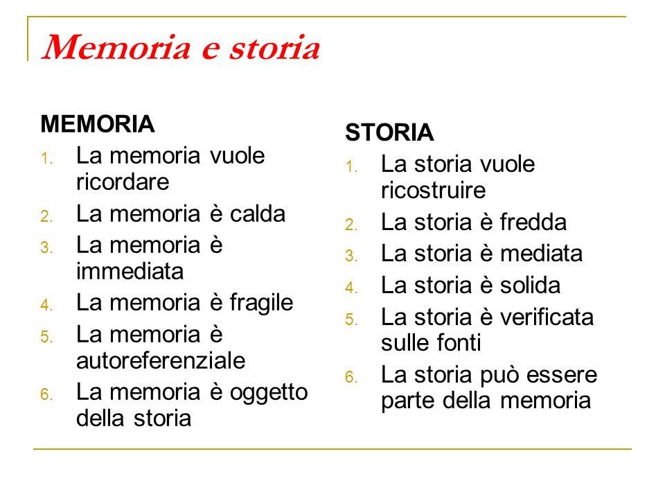 Memoria e storia MEMORIA 1. La memoria vuole ricordare 2. La memoria è calda 3. La memoria è immediata 4. La memoria è fragile 5. La memoria è autoref