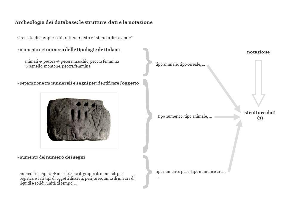 Archeologia dei database: le strutture dati e la notazione aumento del numero delle tipologie dei token: animali pecora pecora maschio, pecora femmina