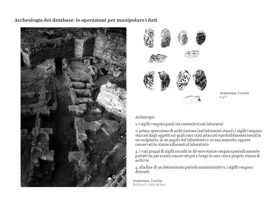 Archeologia dei database: le operazioni per manipolare i dati Arslantepe: 1. i sigilli vengono posti sui contenitori nei laboratori 2. prima operazion