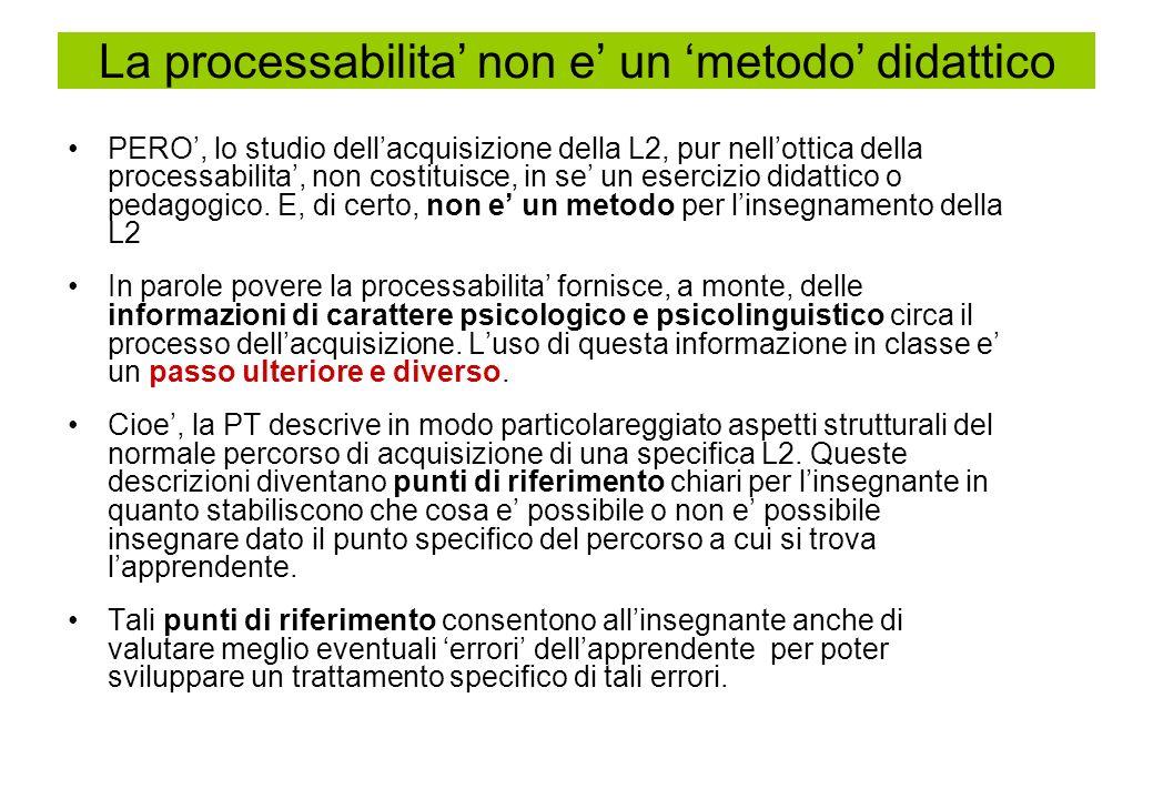 PERO, lo studio dellacquisizione della L2, pur nellottica della processabilita, non costituisce, in se un esercizio didattico o pedagogico. E, di cert