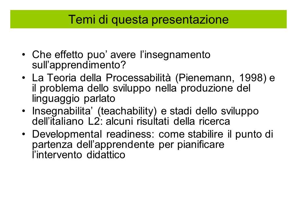 Temi di questa presentazione Che effetto puo avere linsegnamento sullapprendimento? La Teoria della Processabilità (Pienemann, 1998) e il problema del