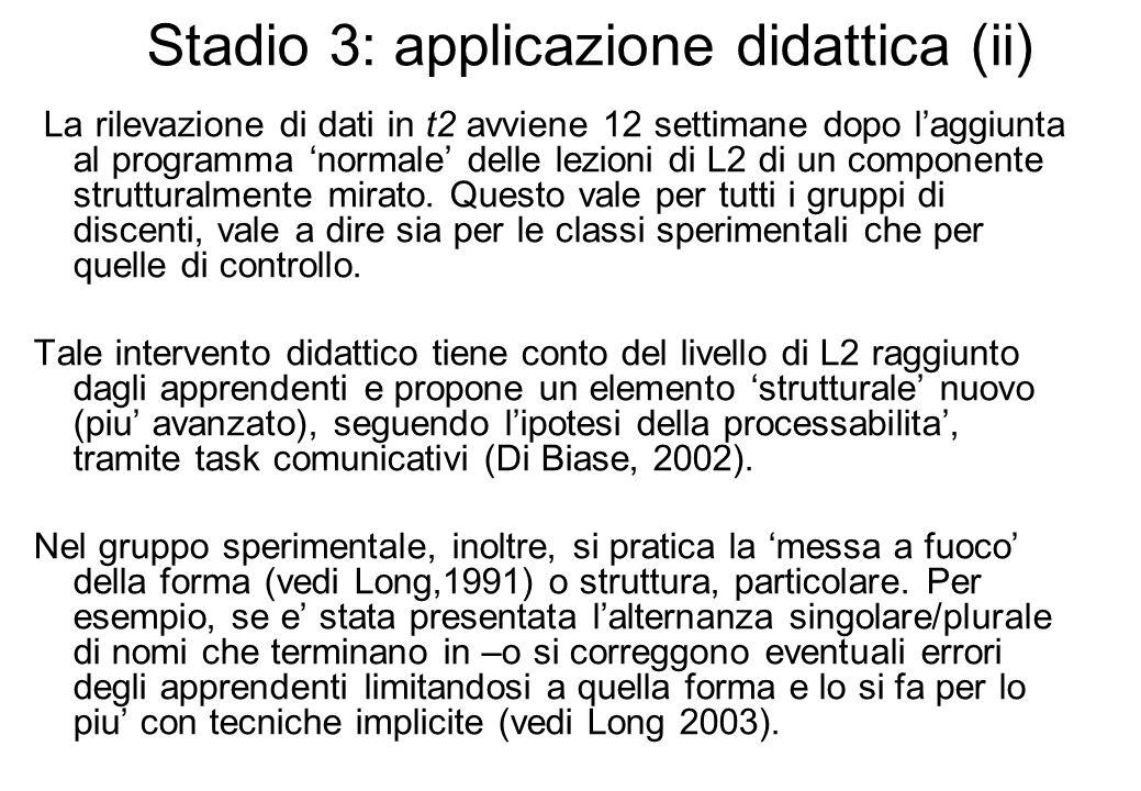 Stadio 3: applicazione didattica (ii) La rilevazione di dati in t2 avviene 12 settimane dopo laggiunta al programma normale delle lezioni di L2 di un