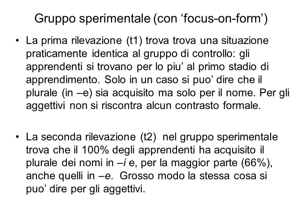 Gruppo sperimentale (con focus-on-form) La prima rilevazione (t1) trova trova una situazione praticamente identica al gruppo di controllo: gli apprend