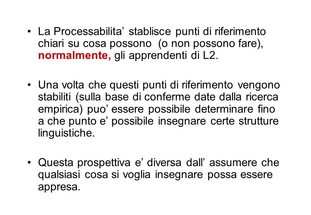 La Processabilita stablisce punti di riferimento chiari su cosa possono (o non possono fare), normalmente, gli apprendenti di L2. Una volta che questi