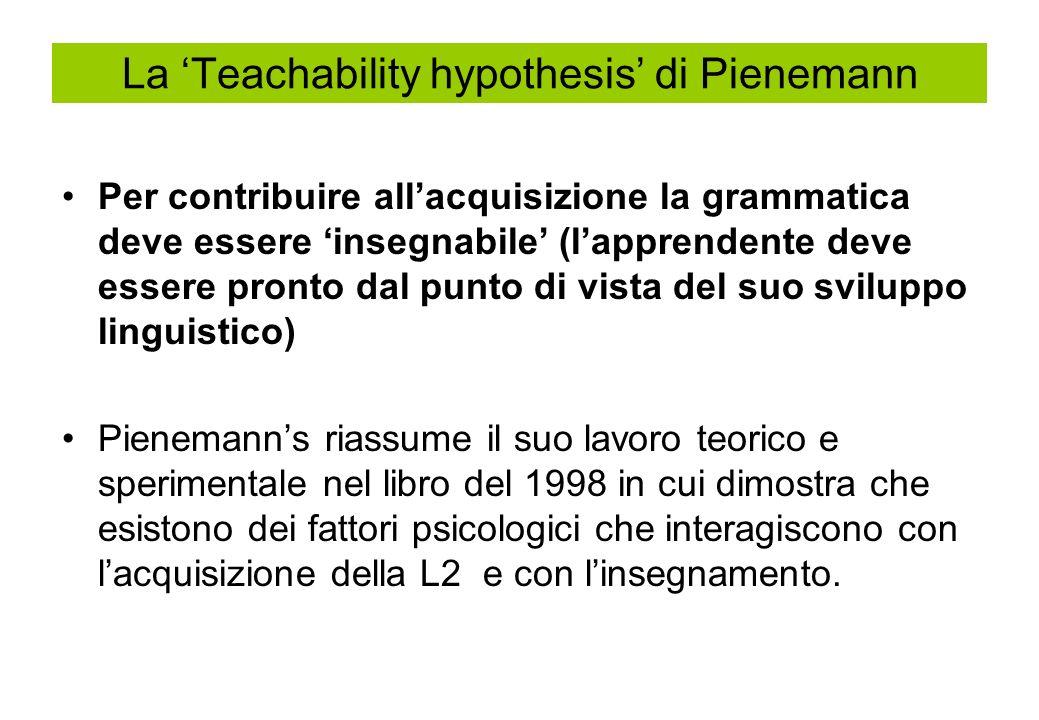La Teachability hypothesis di Pienemann Per contribuire allacquisizione la grammatica deve essere insegnabile (lapprendente deve essere pronto dal pun