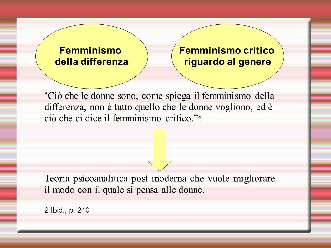 Femminismo della differenza Femminismo critico riguardo al genere Teoria psicoanalitica post moderna che vuole migliorare il modo con il quale si pensa alle donne.