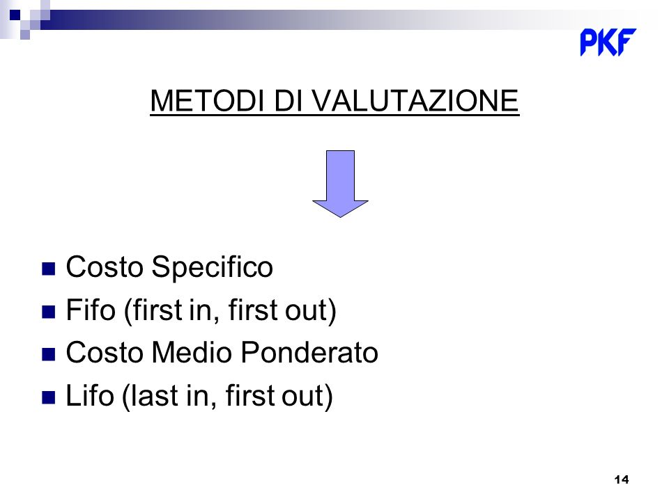 14 METODI DI VALUTAZIONE Costo Specifico Fifo (first in, first out) Costo Medio Ponderato Lifo (last in, first out)