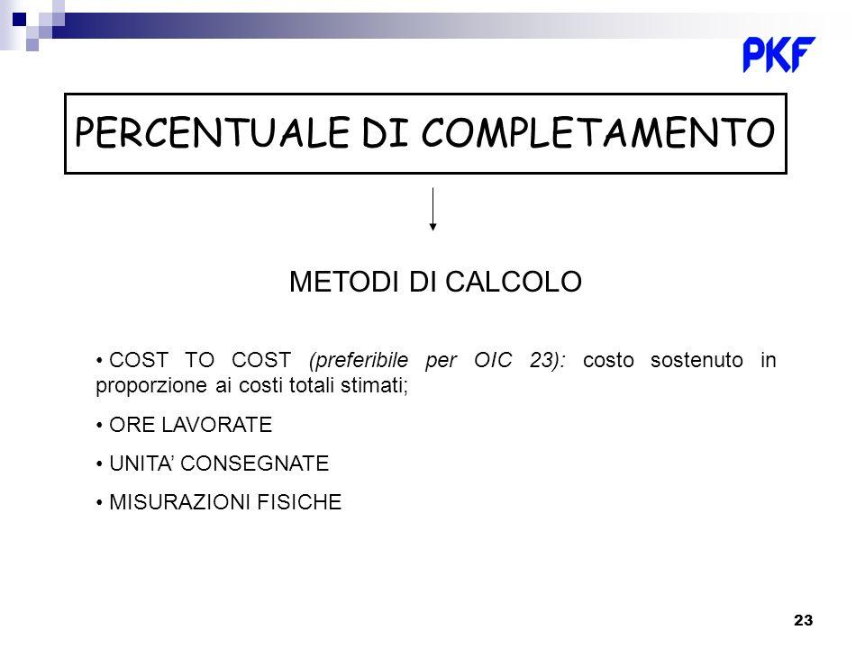 23 PERCENTUALE DI COMPLETAMENTO METODI DI CALCOLO COST TO COST (preferibile per OIC 23): costo sostenuto in proporzione ai costi totali stimati; ORE L
