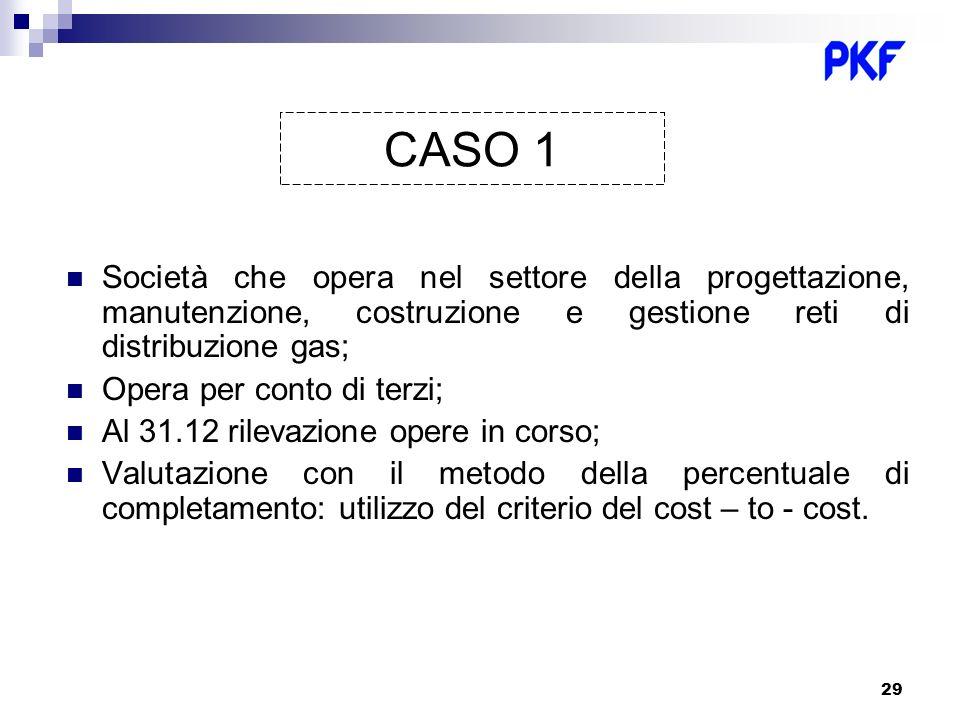 29 CASO 1 Società che opera nel settore della progettazione, manutenzione, costruzione e gestione reti di distribuzione gas; Opera per conto di terzi;