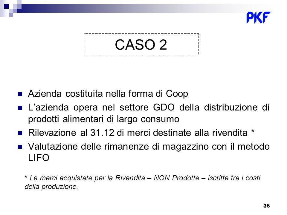 35 Azienda costituita nella forma di Coop Lazienda opera nel settore GDO della distribuzione di prodotti alimentari di largo consumo Rilevazione al 31