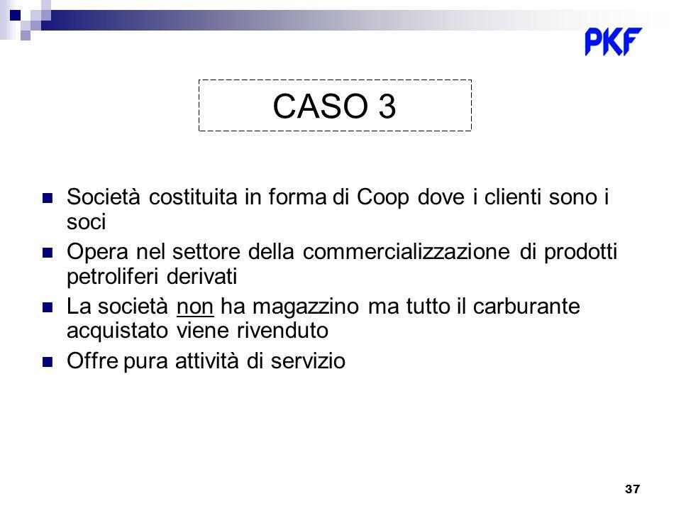 37 Società costituita in forma di Coop dove i clienti sono i soci Opera nel settore della commercializzazione di prodotti petroliferi derivati La soci