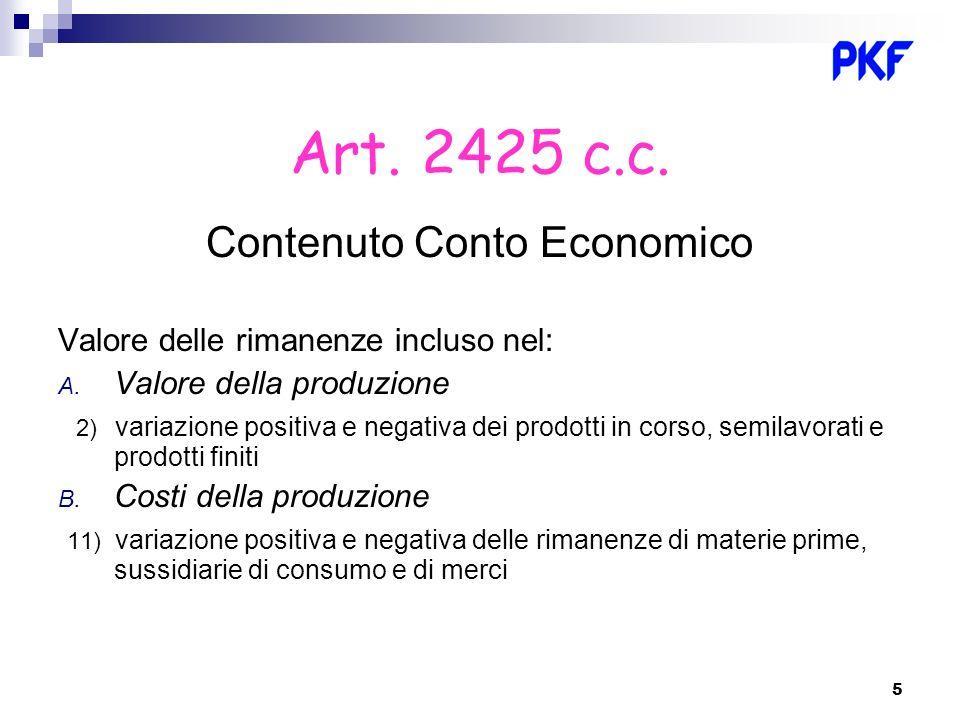 5 Art. 2425 c.c. Contenuto Conto Economico Valore delle rimanenze incluso nel: A. Valore della produzione 2) variazione positiva e negativa dei prodot