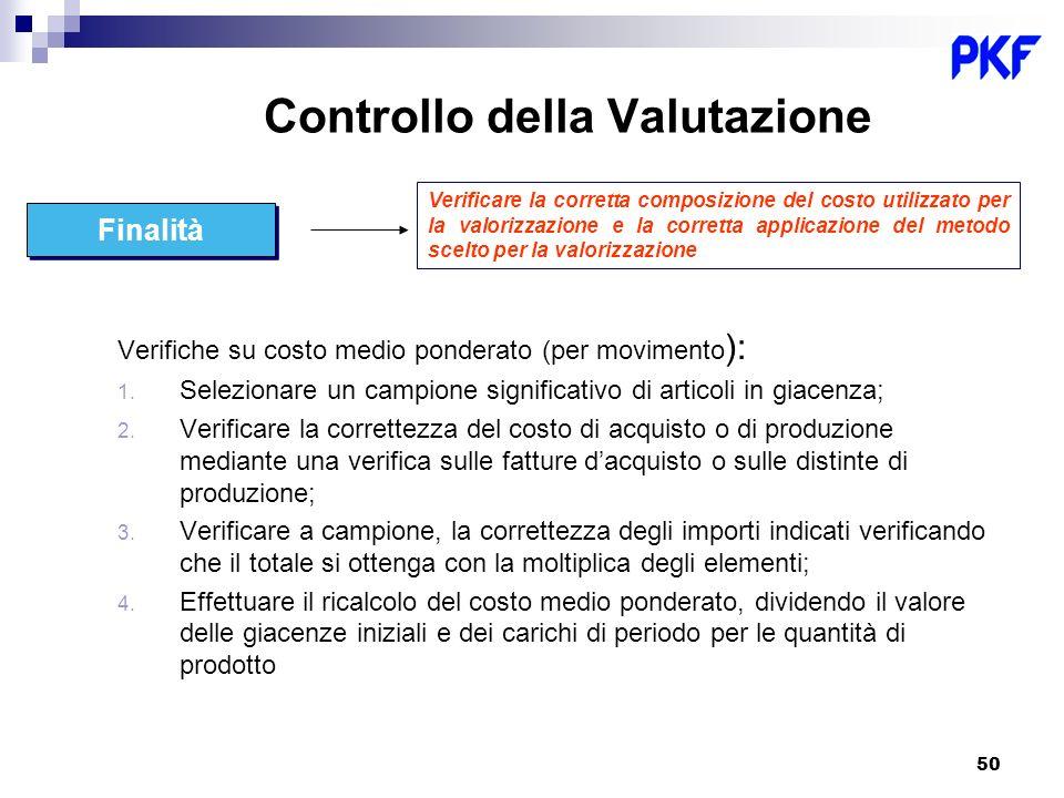 50 Verificare la corretta composizione del costo utilizzato per la valorizzazione e la corretta applicazione del metodo scelto per la valorizzazione F