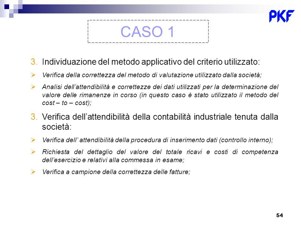 54 CASO 1 3.Individuazione del metodo applicativo del criterio utilizzato: Verifica della correttezza del metodo di valutazione utilizzato dalla socie