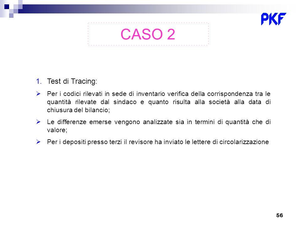 56 1.Test di Tracing: Per i codici rilevati in sede di inventario verifica della corrispondenza tra le quantità rilevate dal sindaco e quanto risulta