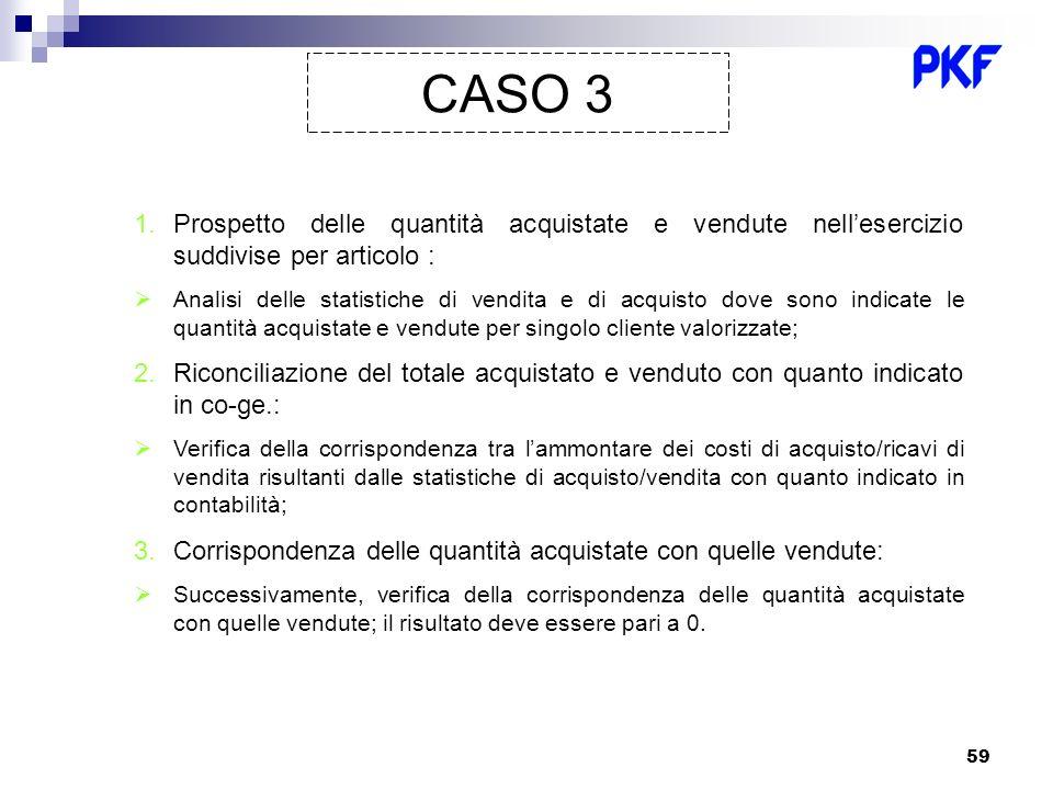 59 CASO 3 1.Prospetto delle quantità acquistate e vendute nellesercizio suddivise per articolo : Analisi delle statistiche di vendita e di acquisto do