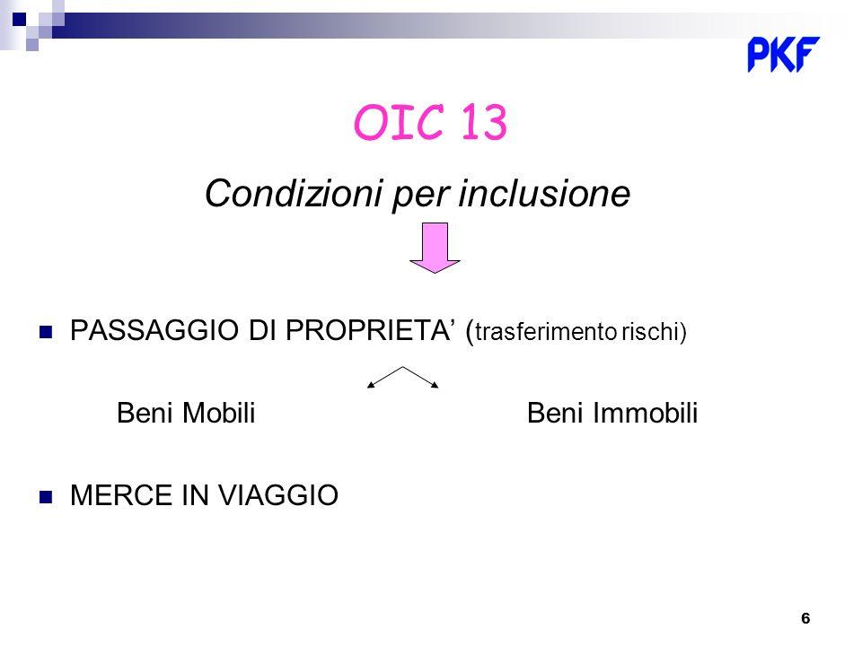 6 OIC 13 Condizioni per inclusione PASSAGGIO DI PROPRIETA ( trasferimento rischi) Beni Mobili Beni Immobili MERCE IN VIAGGIO