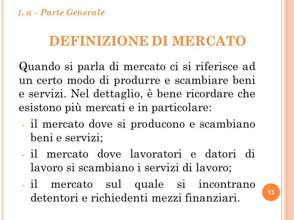 DEFINIZIONE DI MERCATO 13 Quando si parla di mercato ci si riferisce ad un certo modo di produrre e scambiare beni e servizi. Nel dettaglio, è bene ri
