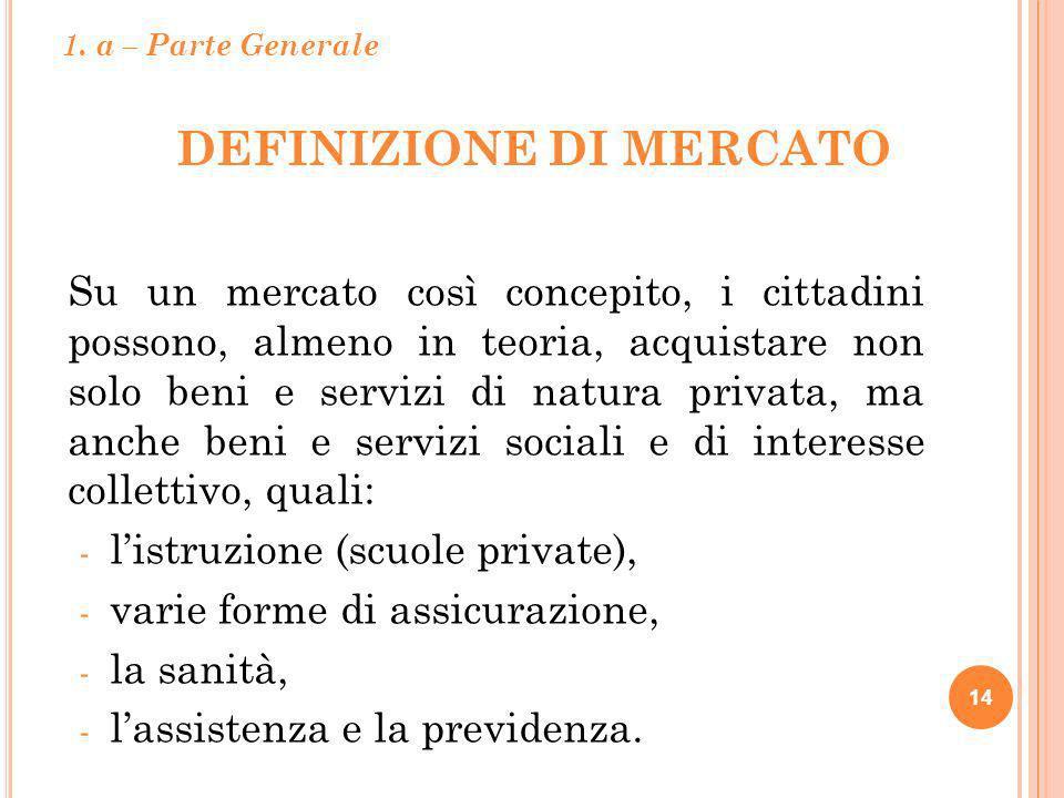 DEFINIZIONE DI MERCATO 14 Su un mercato così concepito, i cittadini possono, almeno in teoria, acquistare non solo beni e servizi di natura privata, m