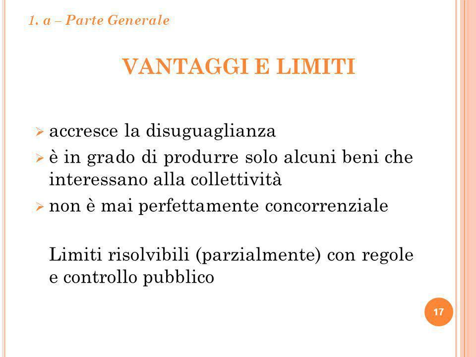 VANTAGGI E LIMITI 17 accresce la disuguaglianza è in grado di produrre solo alcuni beni che interessano alla collettività non è mai perfettamente conc