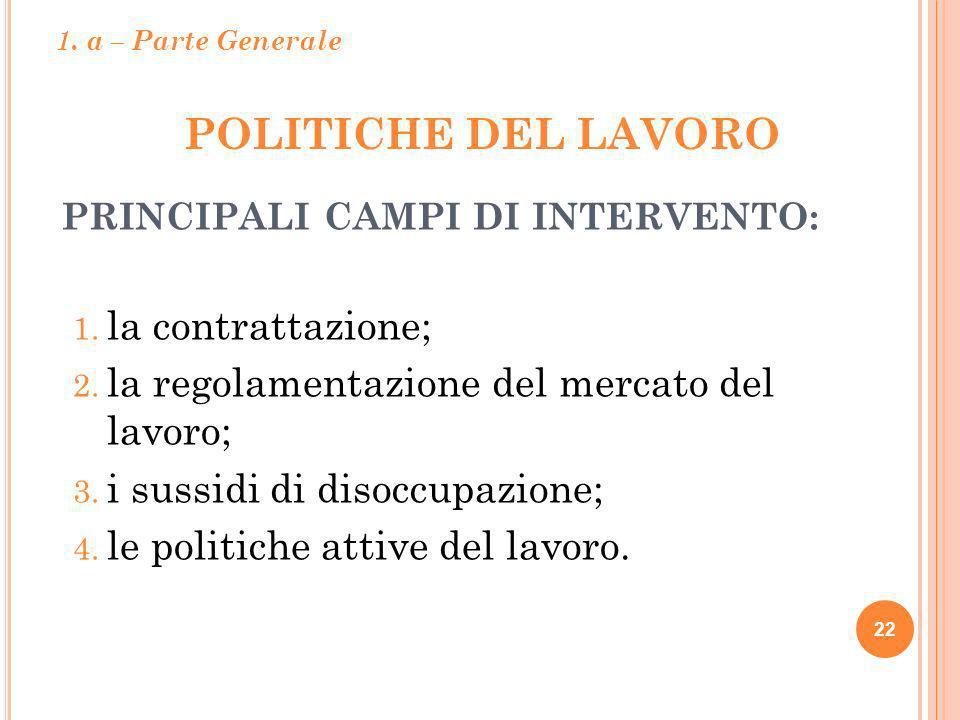 POLITICHE DEL LAVORO 22 PRINCIPALI CAMPI DI INTERVENTO: 1. la contrattazione; 2. la regolamentazione del mercato del lavoro; 3. i sussidi di disoccupa