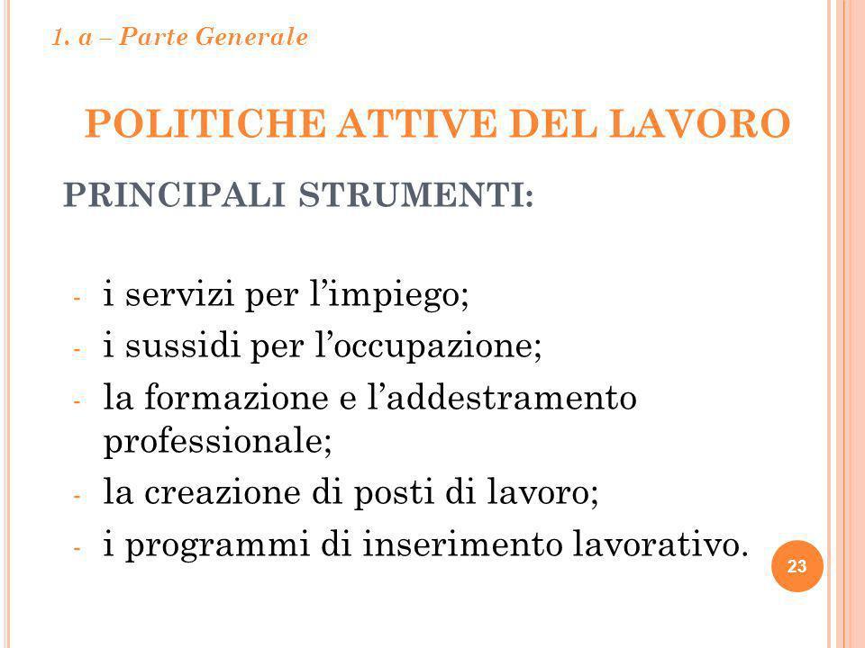 POLITICHE ATTIVE DEL LAVORO 23 PRINCIPALI STRUMENTI: - i servizi per limpiego; - i sussidi per loccupazione; - la formazione e laddestramento professi